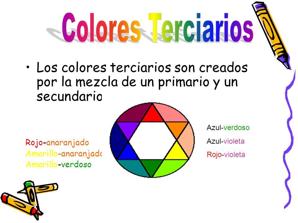 Colores Terciarios Los colores terciarios son creados por la mezcla de un primario y un secundario.