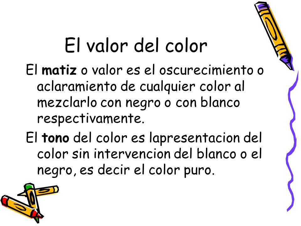 El valor del color El matiz o valor es el oscurecimiento o aclaramiento de cualquier color al mezclarlo con negro o con blanco respectivamente.