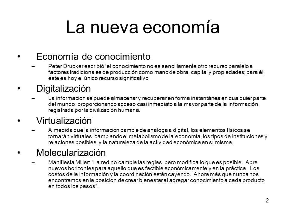 La nueva economía Economía de conocimiento Digitalización