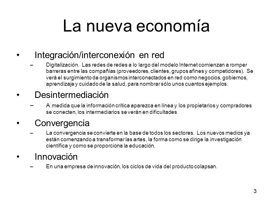 La nueva economía Integración/interconexión en red Desintermediación