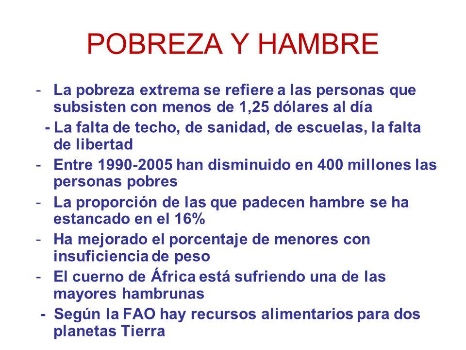 POBREZA Y HAMBRE La pobreza extrema se refiere a las personas que subsisten con menos de 1,25 dólares al día.