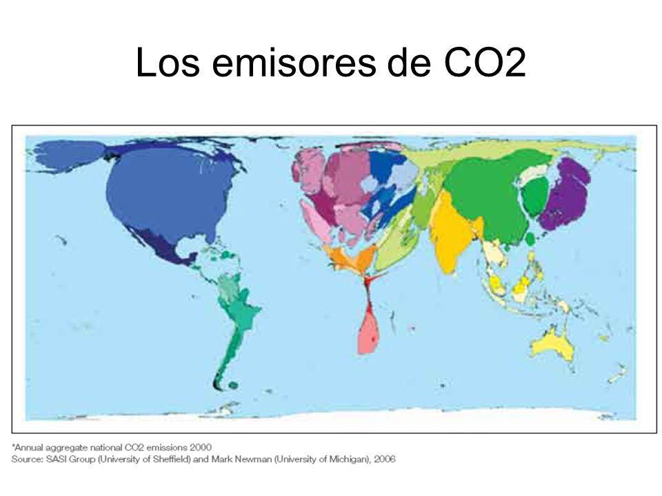 Los emisores de CO2 Mapa del mundo reflejando las regiones con mayores emisiones de CO2