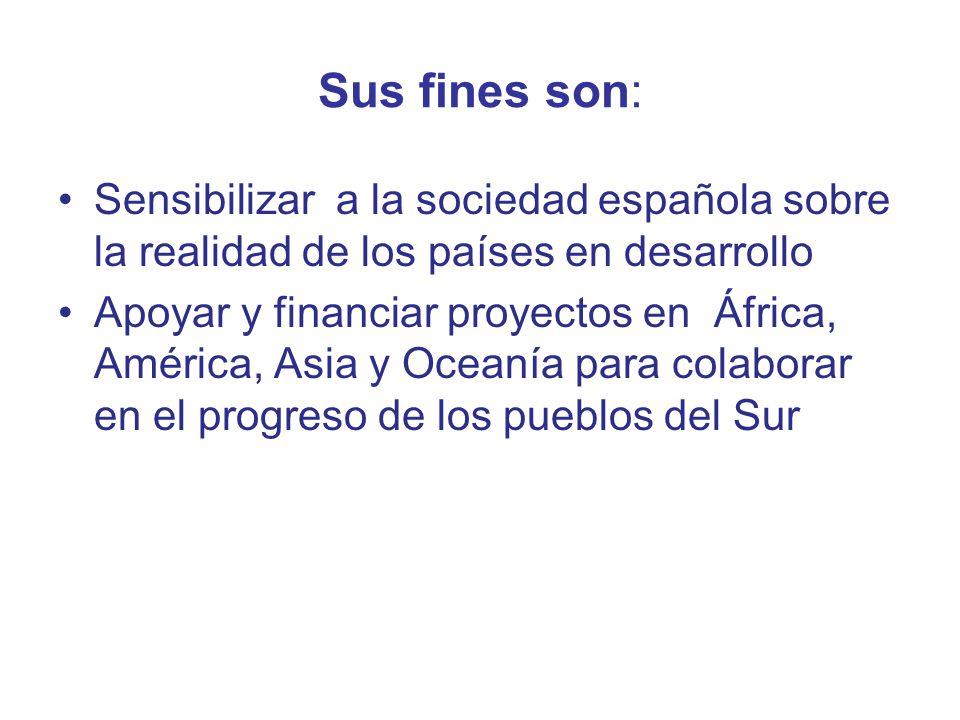 Sus fines son: Sensibilizar a la sociedad española sobre la realidad de los países en desarrollo.
