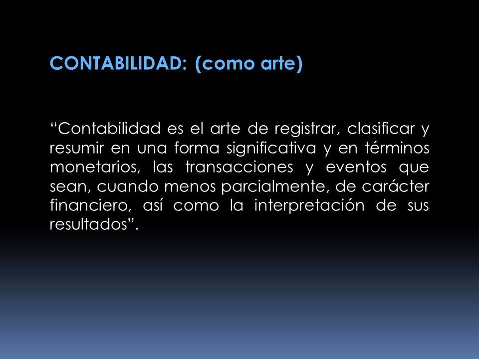 CONTABILIDAD: (como arte)