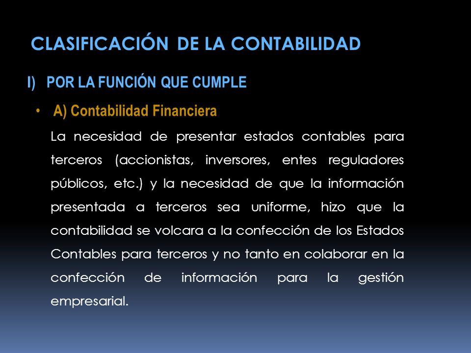CLASIFICACIÓN DE LA CONTABILIDAD