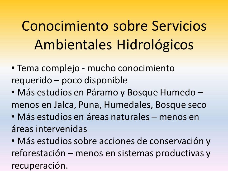 Conocimiento sobre Servicios Ambientales Hidrológicos