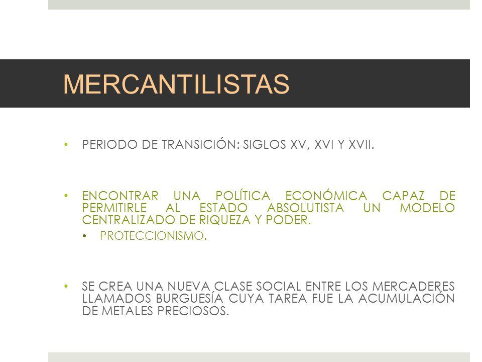 MERCANTILISTAS PERIODO DE TRANSICIÓN: SIGLOS XV, XVI Y XVII.