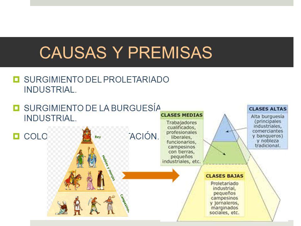 CAUSAS Y PREMISAS SURGIMIENTO DEL PROLETARIADO INDUSTRIAL.