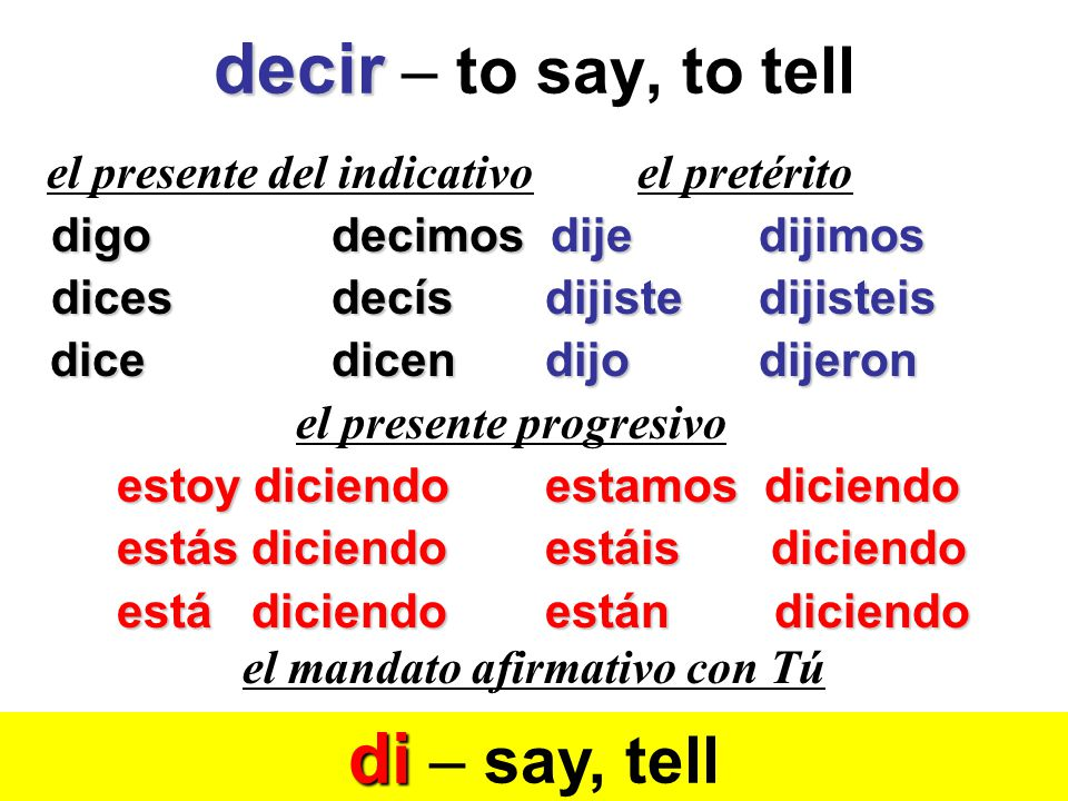 decir – to say, to tell di – say, tell