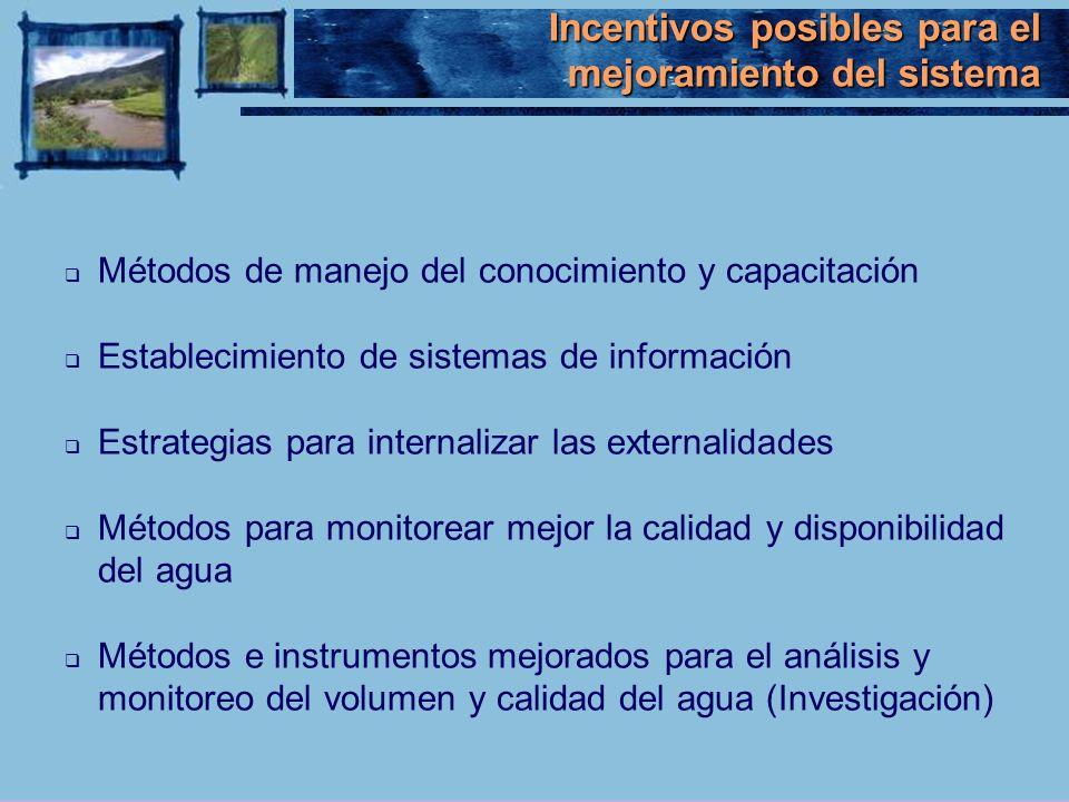 Incentivos posibles para el mejoramiento del sistema