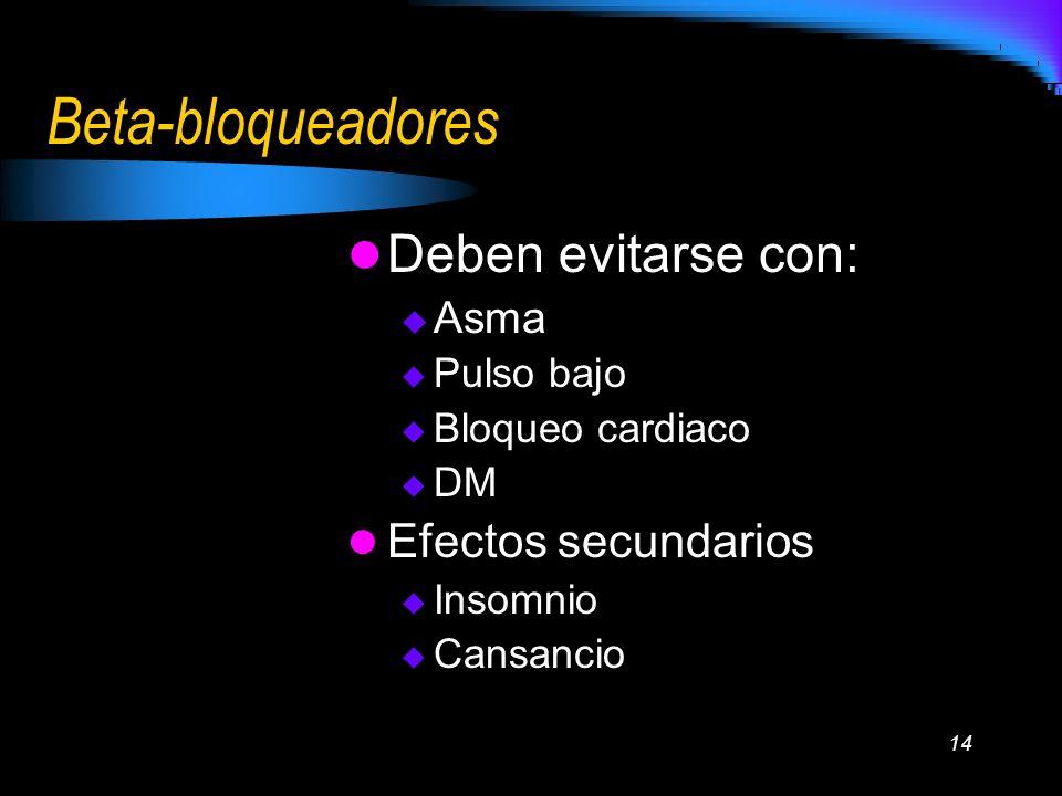 Beta-bloqueadores Deben evitarse con: Efectos secundarios Asma