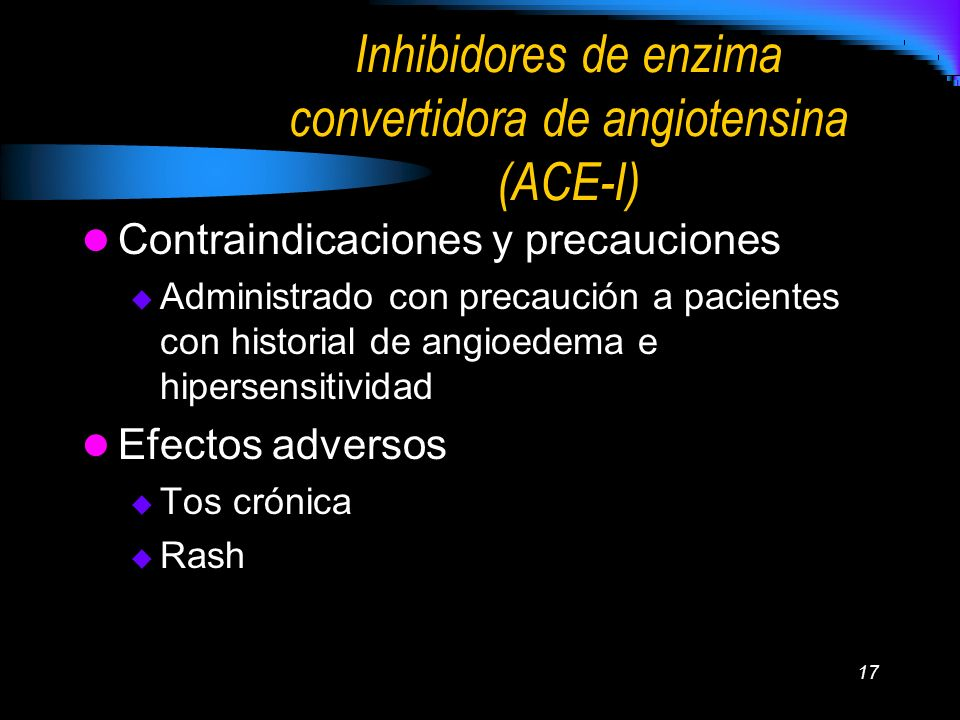 Inhibidores de enzima convertidora de angiotensina (ACE-I)