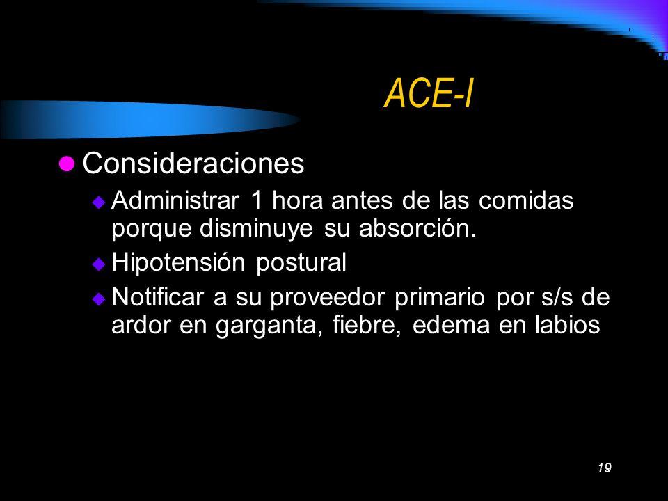ACE-I Consideraciones
