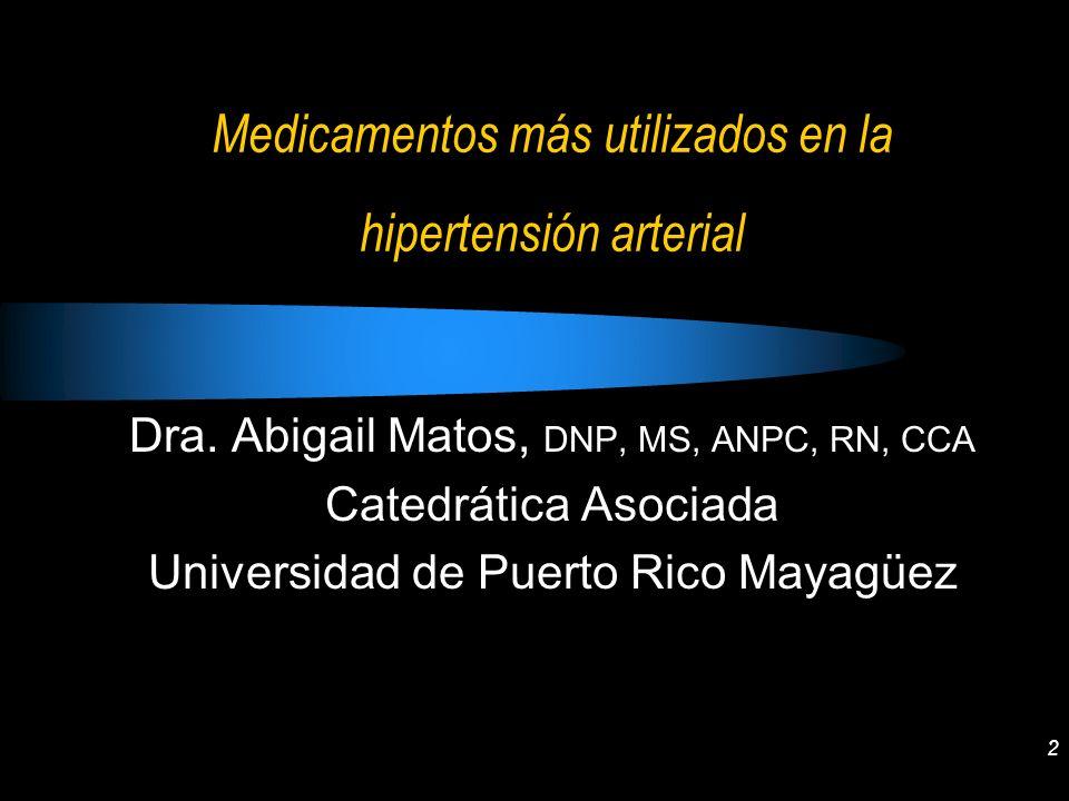 Medicamentos más utilizados en la hipertensión arterial
