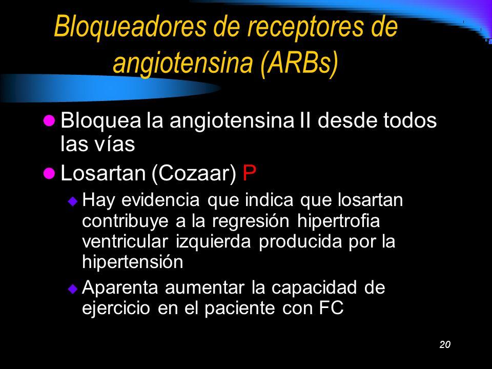 Bloqueadores de receptores de angiotensina (ARBs)