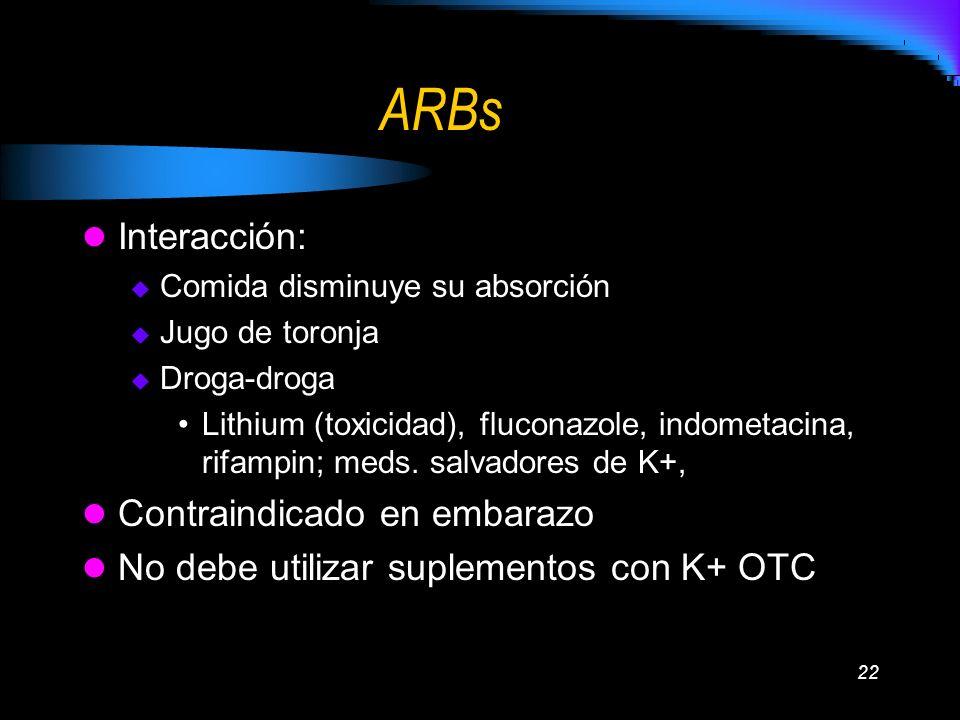 ARBs Interacción: Contraindicado en embarazo