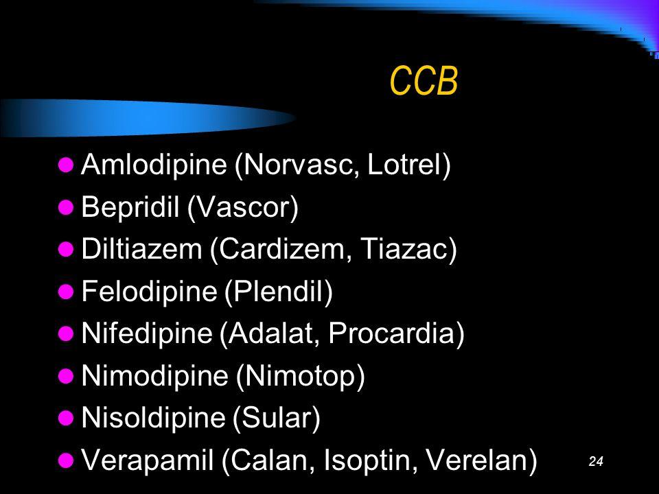 CCB Amlodipine (Norvasc, Lotrel) Bepridil (Vascor)