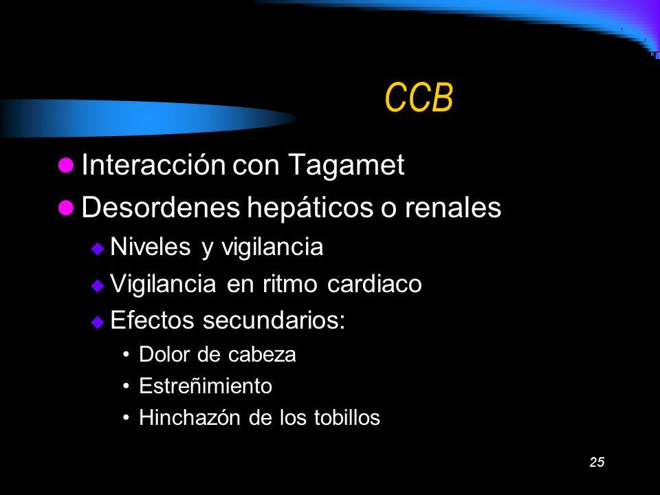 CCB Interacción con Tagamet Desordenes hepáticos o renales