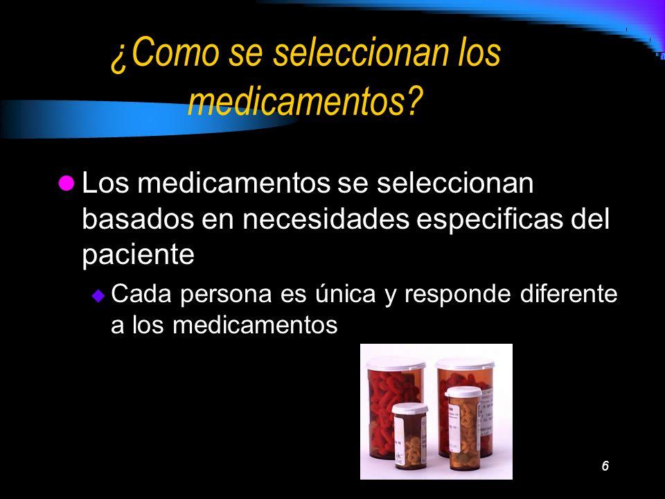 ¿Como se seleccionan los medicamentos