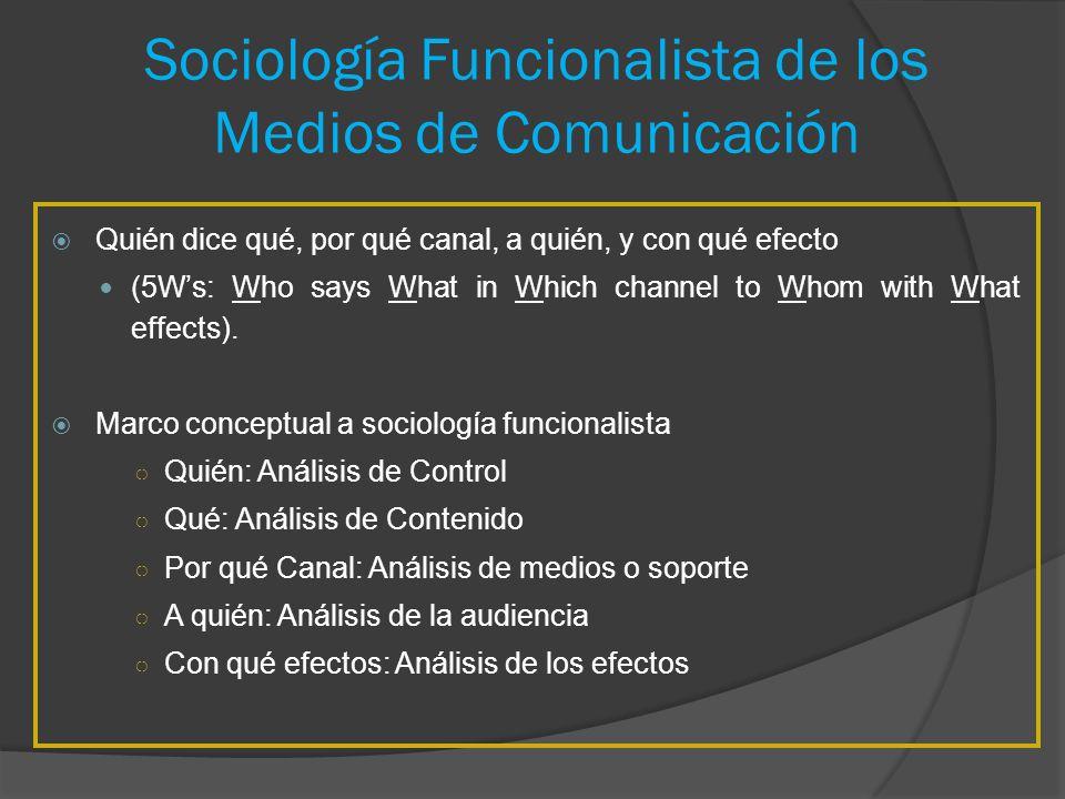 Sociología Funcionalista de los Medios de Comunicación