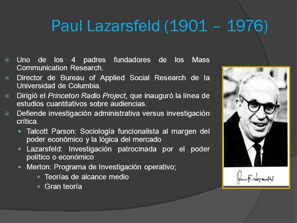 Paul Lazarsfeld (1901 – 1976) Uno de los 4 padres fundadores de los Mass Communication Research.