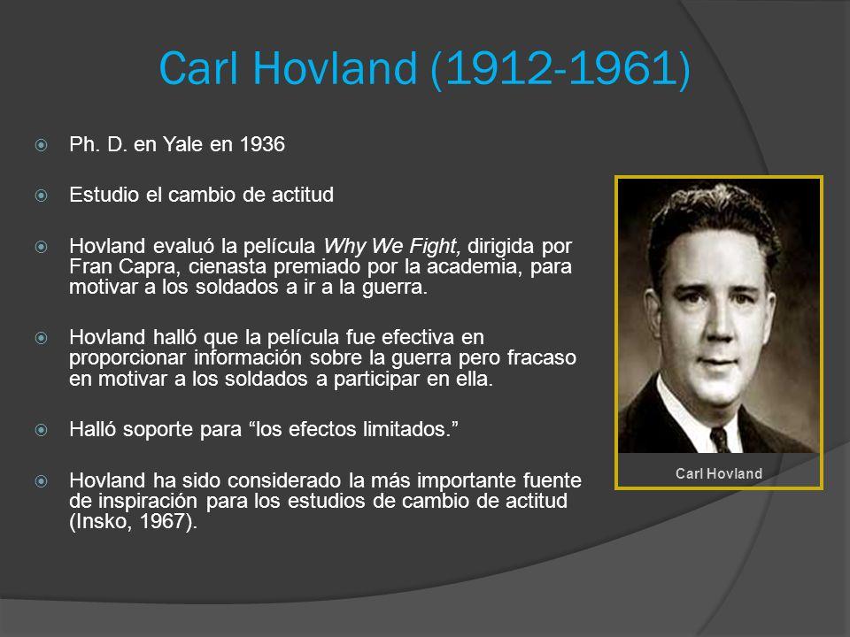 Carl Hovland (1912-1961) Ph. D. en Yale en 1936