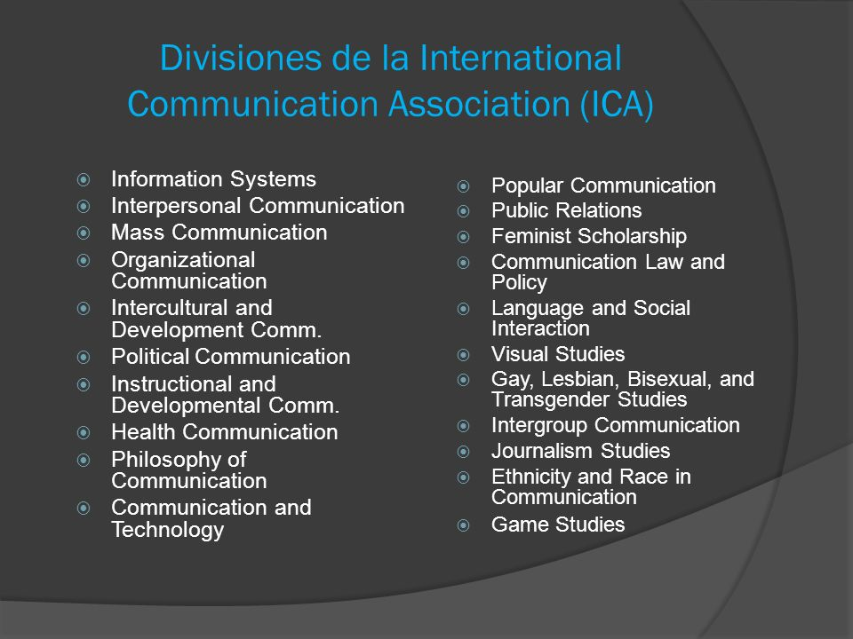 Divisiones de la International Communication Association (ICA)