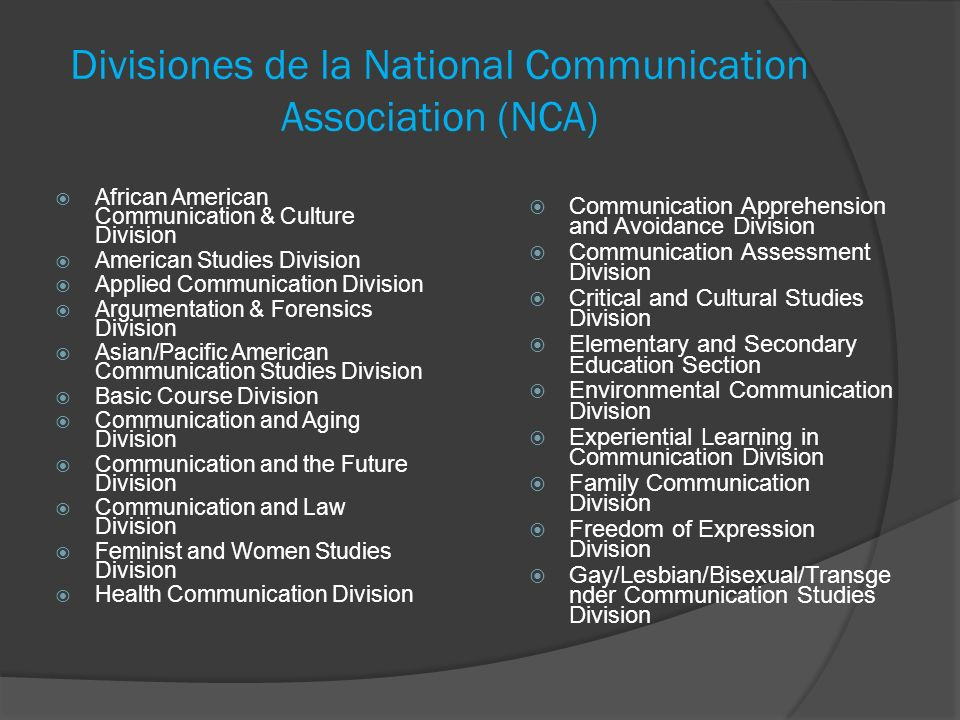 Divisiones de la National Communication Association (NCA)