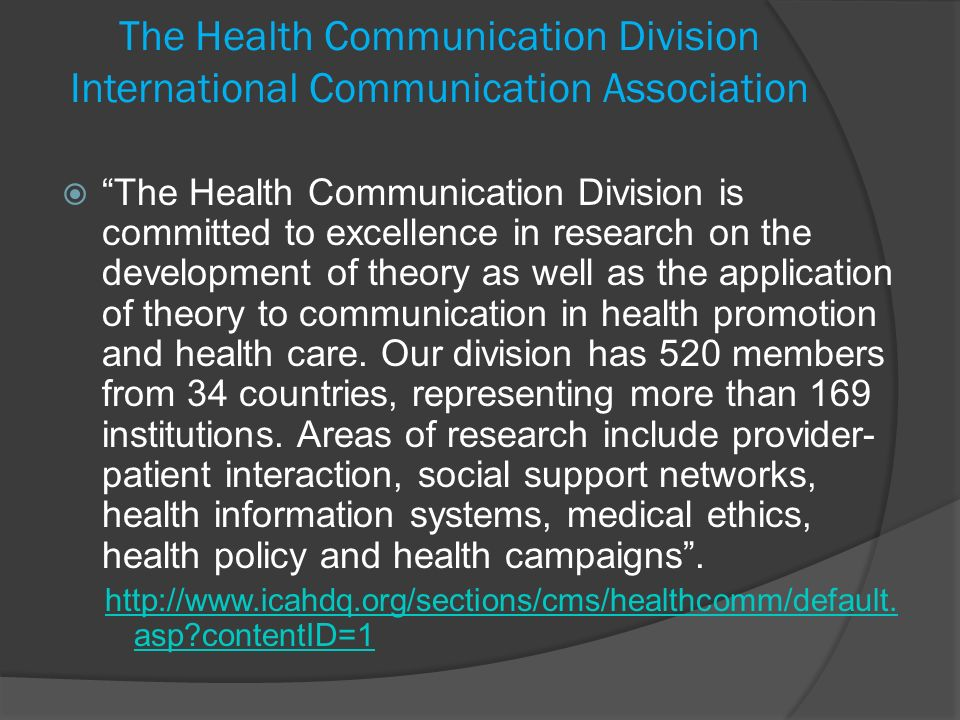 The Health Communication Division International Communication Association