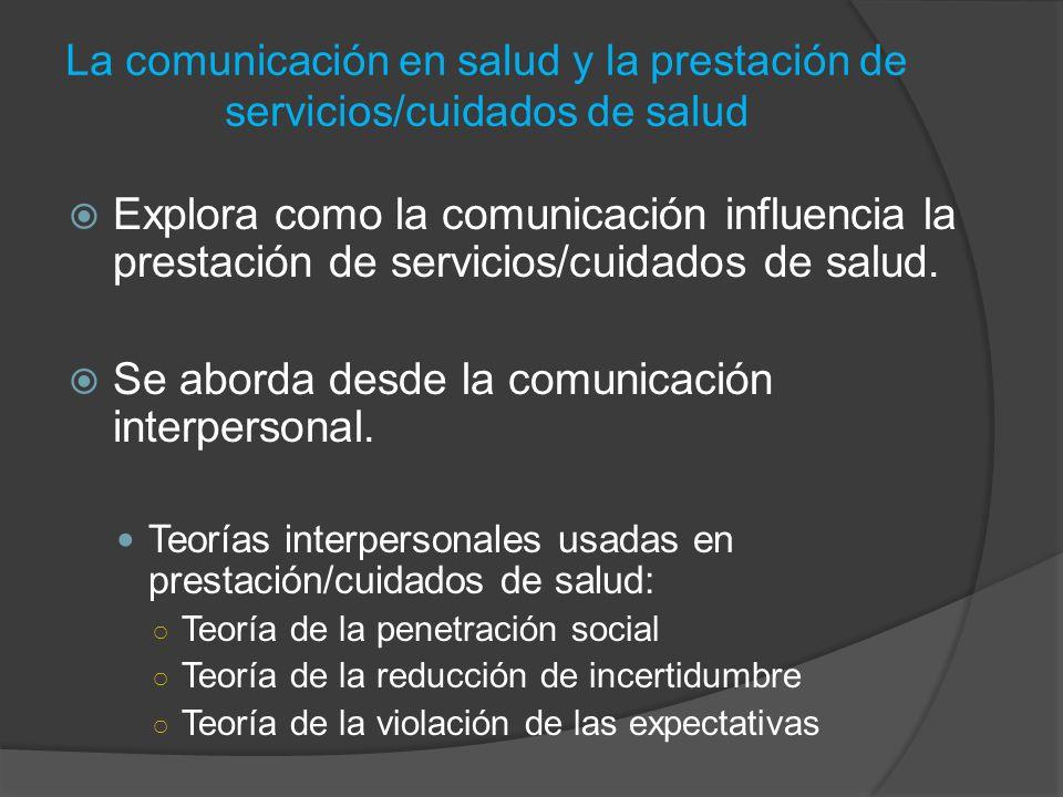 Se aborda desde la comunicación interpersonal.