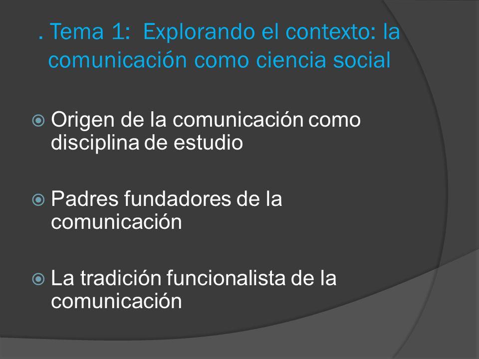 . Tema 1: Explorando el contexto: la comunicación como ciencia social