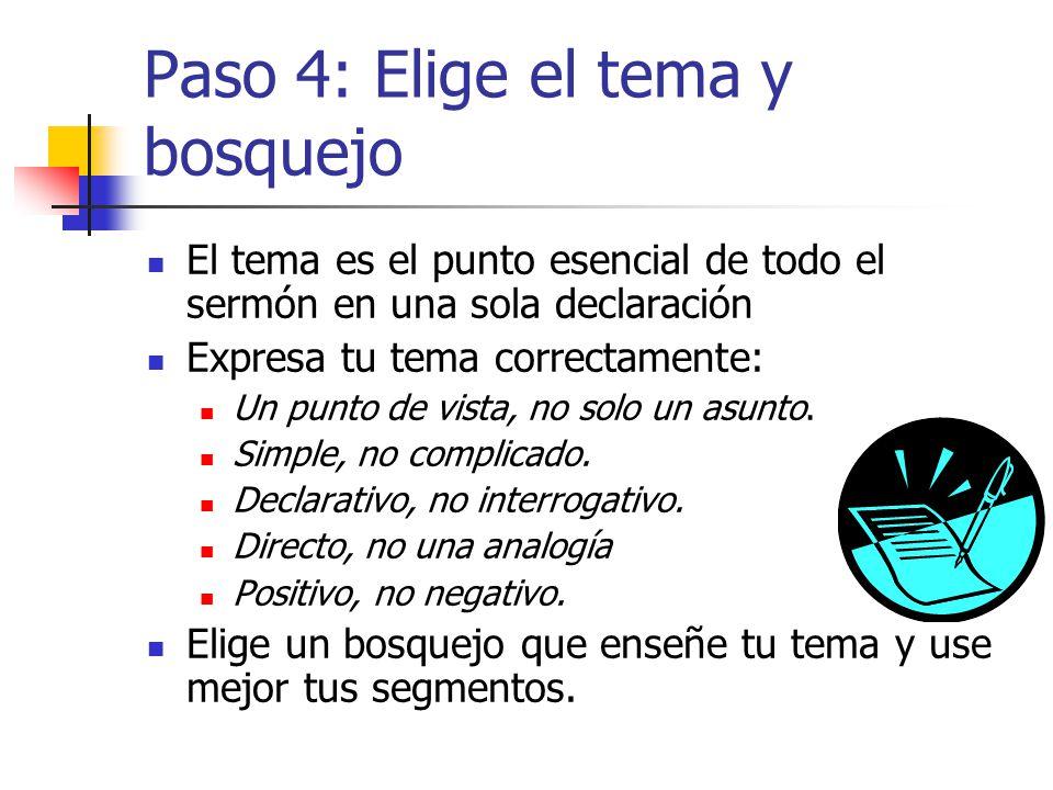 Paso 4: Elige el tema y bosquejo