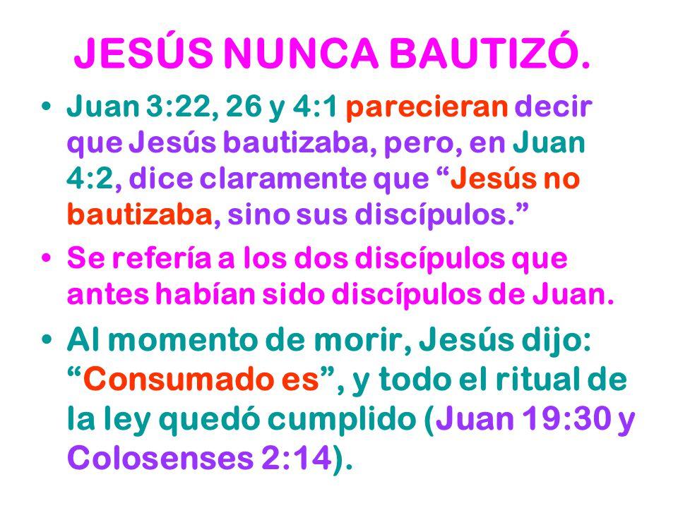 JESÚS NUNCA BAUTIZÓ.