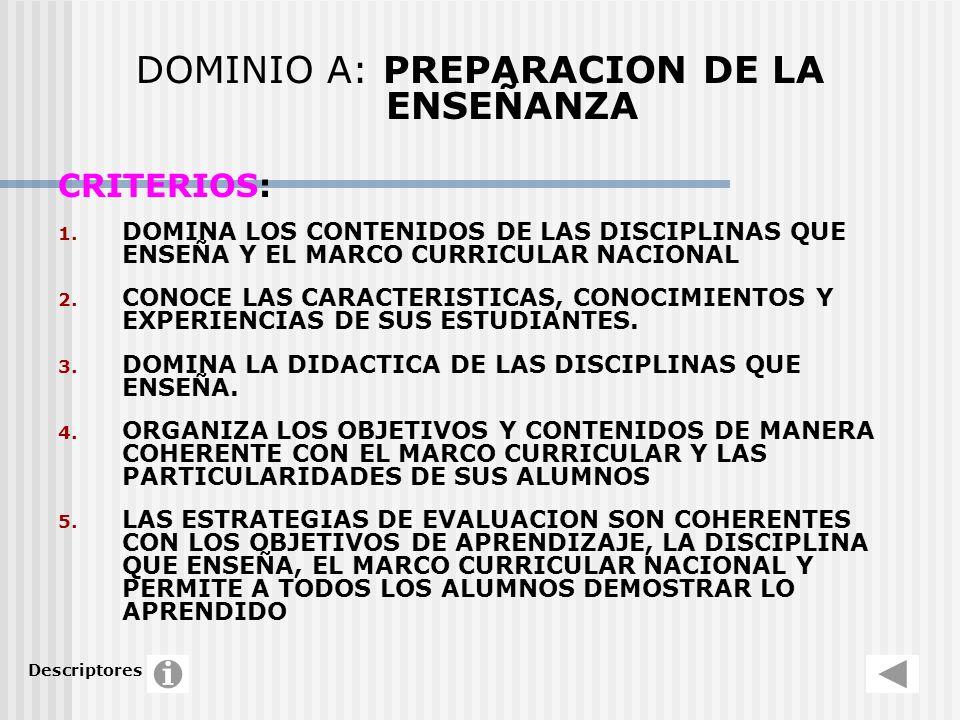 DOMINIO A: PREPARACION DE LA ENSEÑANZA