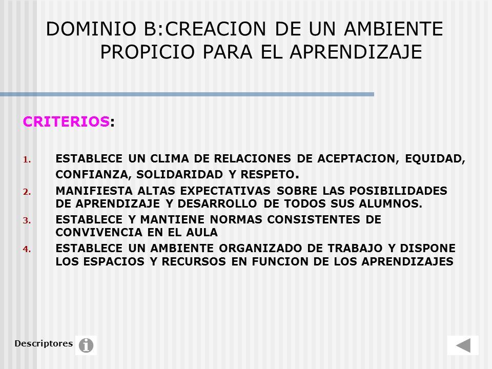 DOMINIO B:CREACION DE UN AMBIENTE PROPICIO PARA EL APRENDIZAJE