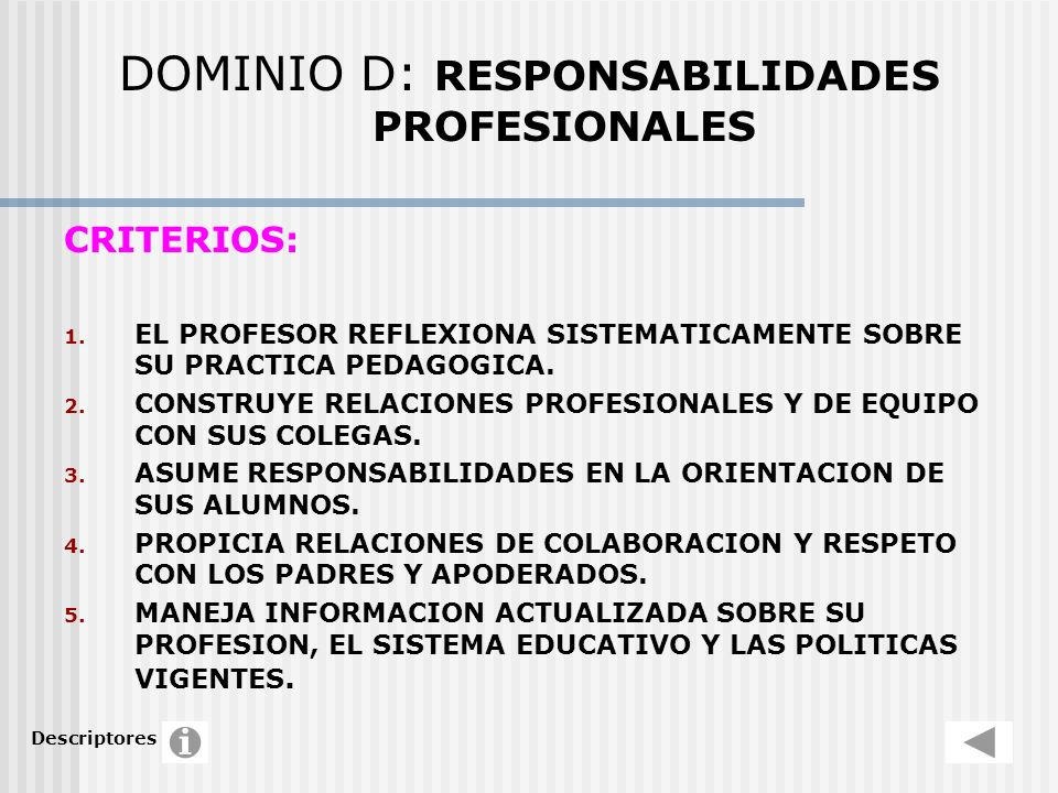 DOMINIO D: RESPONSABILIDADES PROFESIONALES