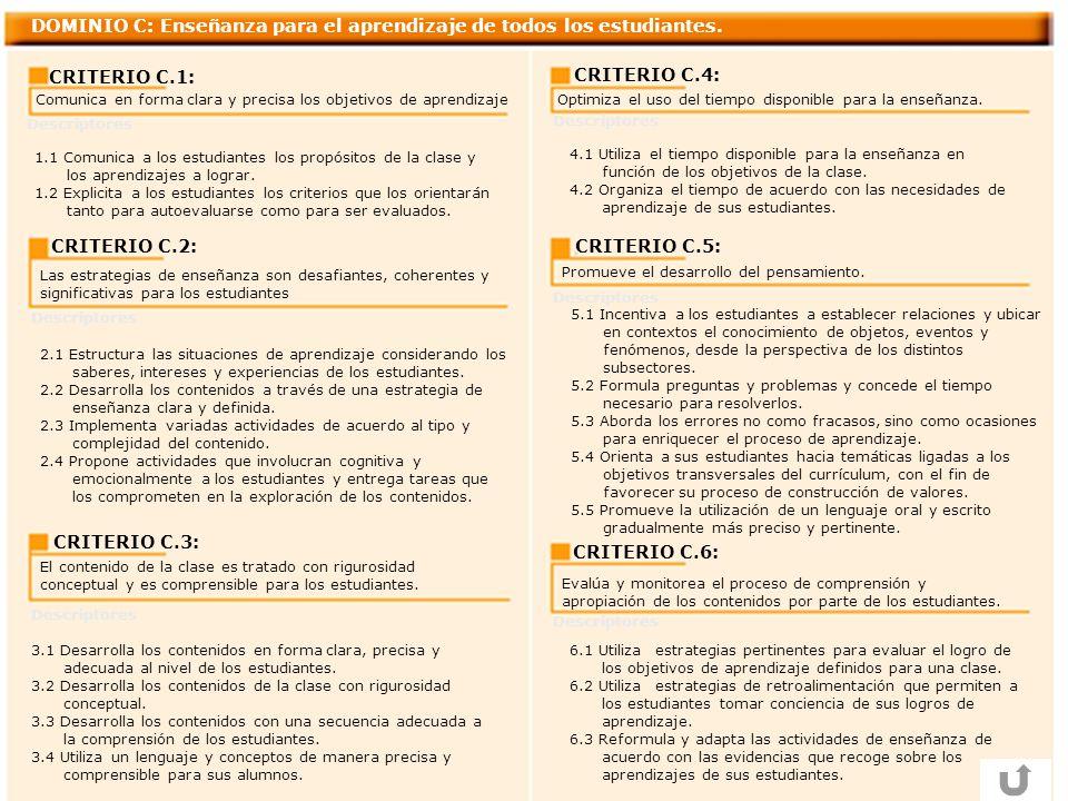 DOMINIO C: Enseñanza para el aprendizaje de todos los estudiantes.