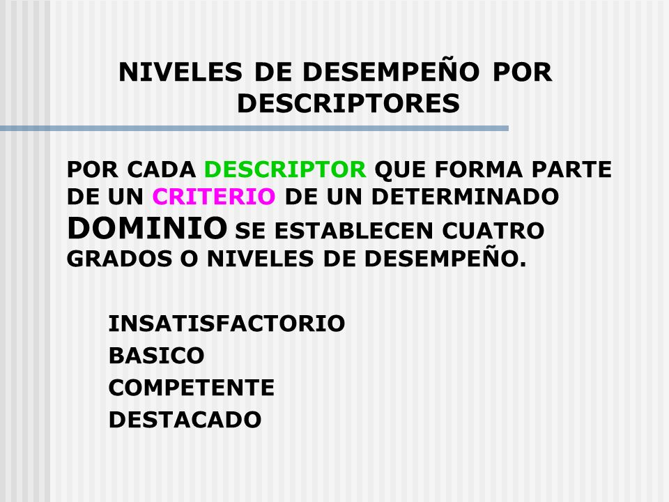 NIVELES DE DESEMPEÑO POR DESCRIPTORES