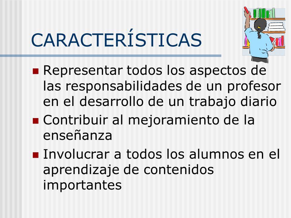 CARACTERÍSTICAS Representar todos los aspectos de las responsabilidades de un profesor en el desarrollo de un trabajo diario.