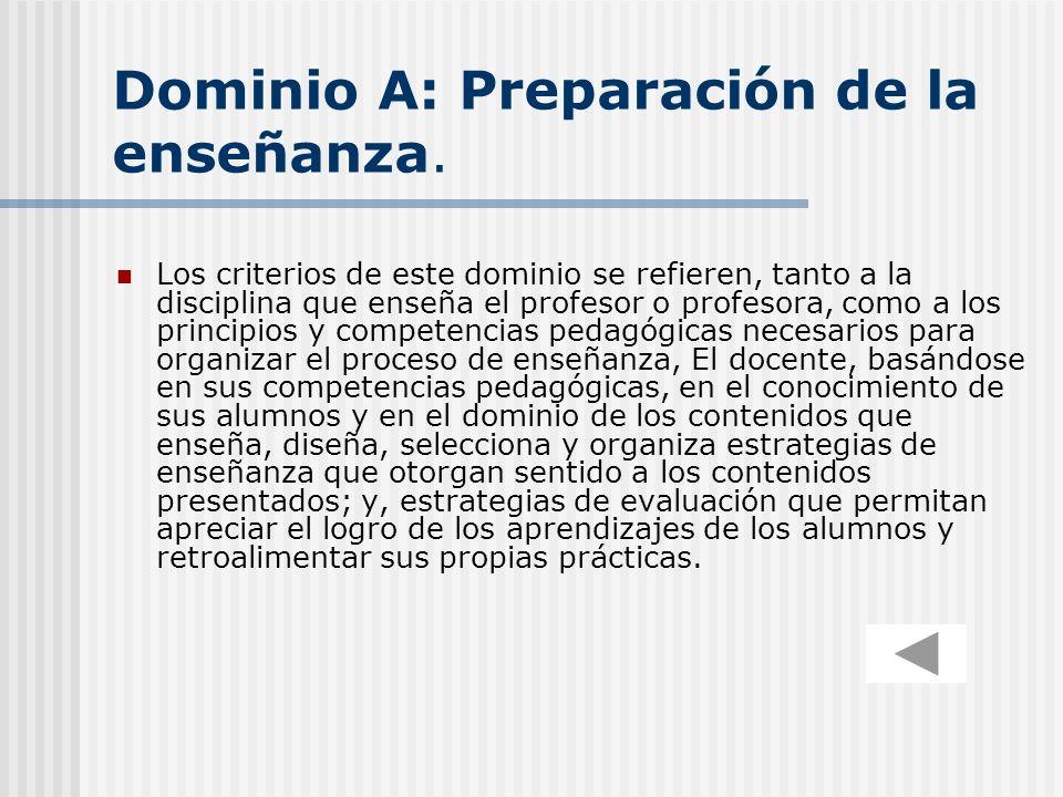 Dominio A: Preparación de la enseñanza.
