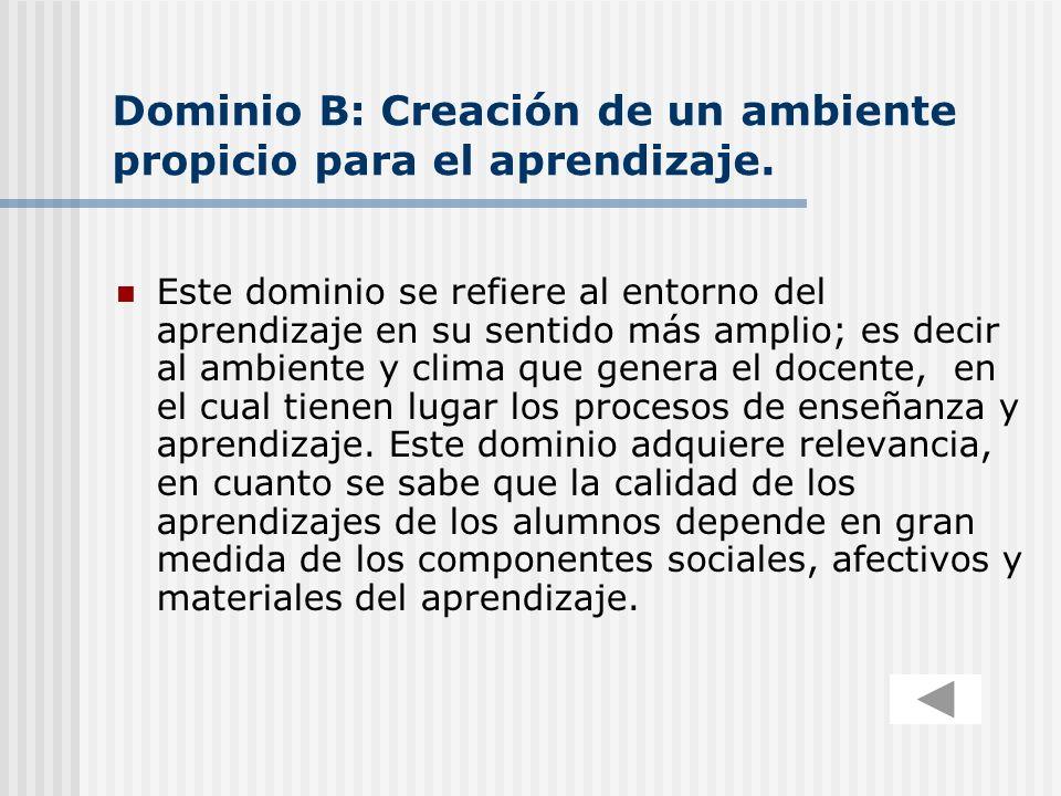 Dominio B: Creación de un ambiente propicio para el aprendizaje.