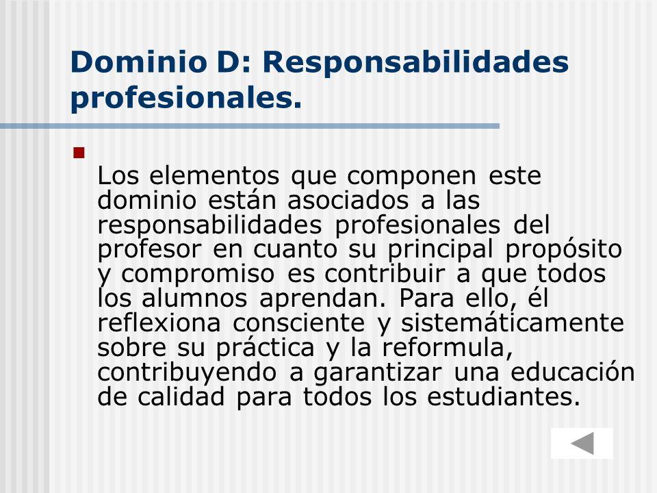 Dominio D: Responsabilidades profesionales.