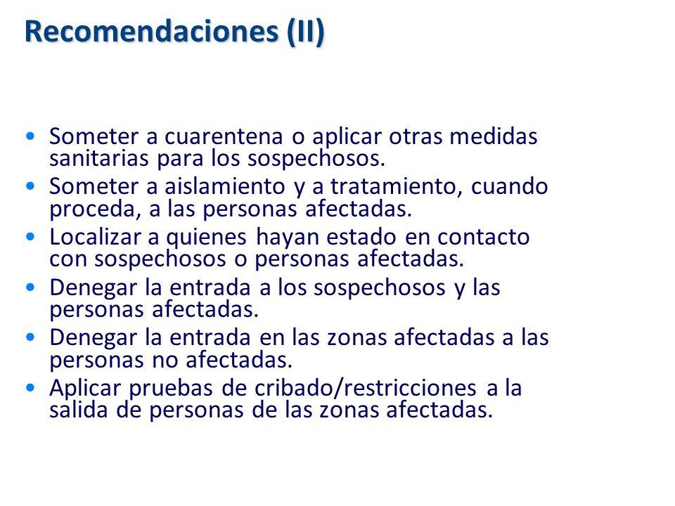 Recomendaciones (II) Someter a cuarentena o aplicar otras medidas sanitarias para los sospechosos.
