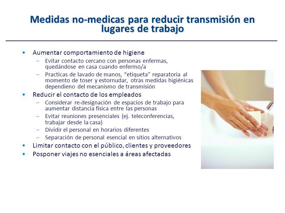 Medidas no-medicas para reducir transmisión en lugares de trabajo