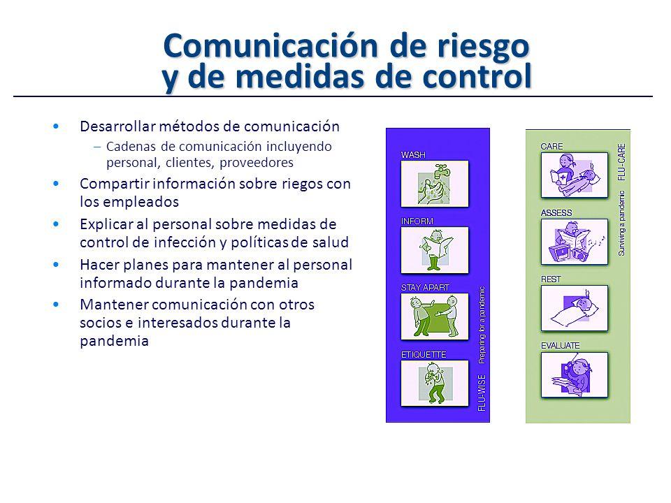 Comunicación de riesgo y de medidas de control