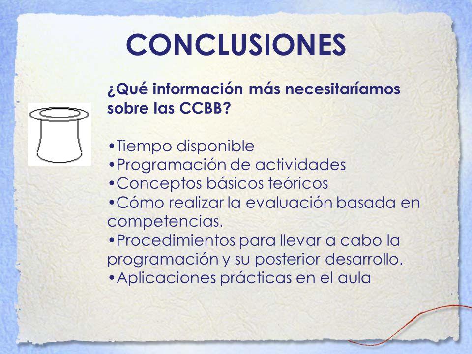 CONCLUSIONES ¿Qué información más necesitaríamos sobre las CCBB