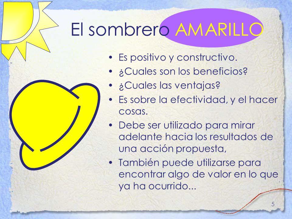 El sombrero AMARILLO Es positivo y constructivo.