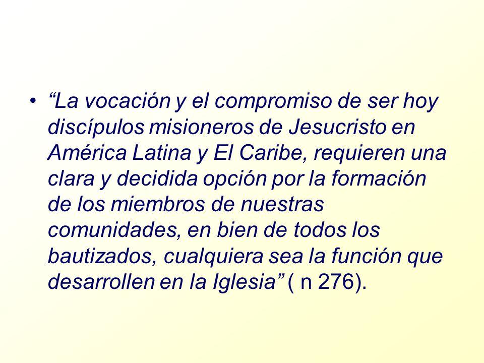 La vocación y el compromiso de ser hoy discípulos misioneros de Jesucristo en América Latina y El Caribe, requieren una clara y decidida opción por la formación de los miembros de nuestras comunidades, en bien de todos los bautizados, cualquiera sea la función que desarrollen en la Iglesia ( n 276).