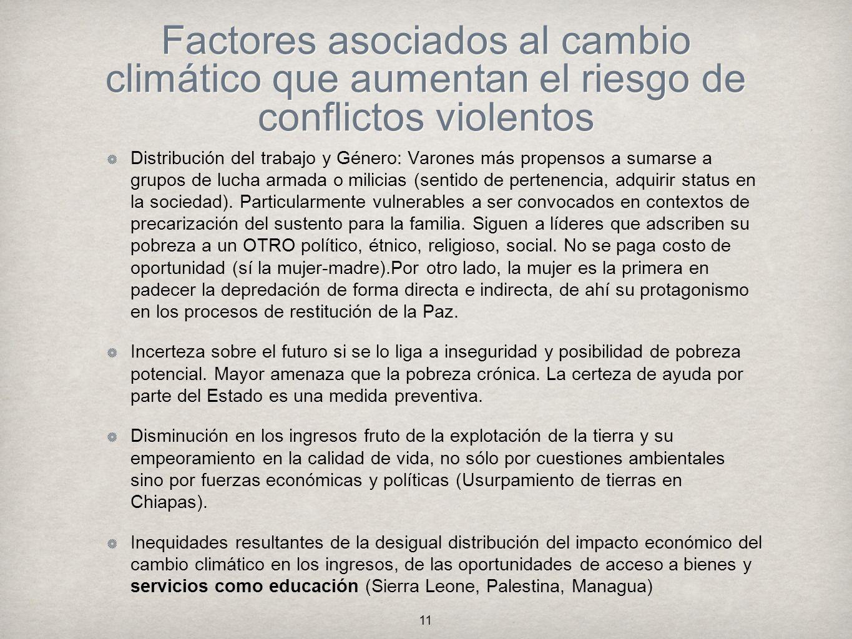 Factores asociados al cambio climático que aumentan el riesgo de conflictos violentos
