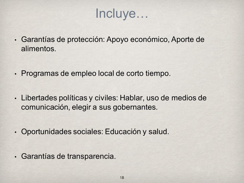 Incluye… Garantías de protección: Apoyo económico, Aporte de alimentos. Programas de empleo local de corto tiempo.